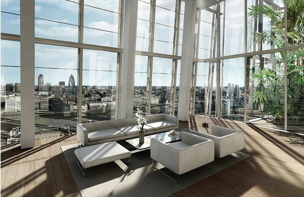Slik kan de bo, de som kjøper seg inn i Europas høyeste bygning. Foto: Sellar Property Group