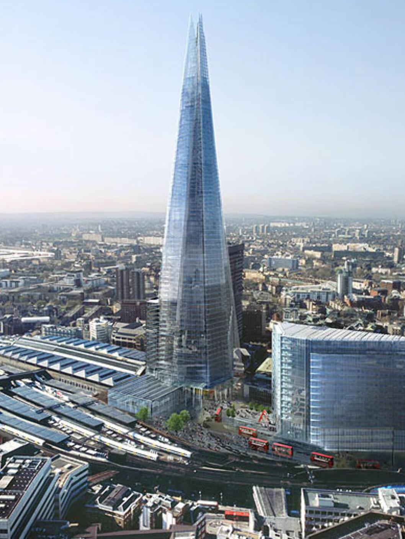 Et spyd av glass som reiser seg over London Bridge Station. Foto: Sellar Property Group