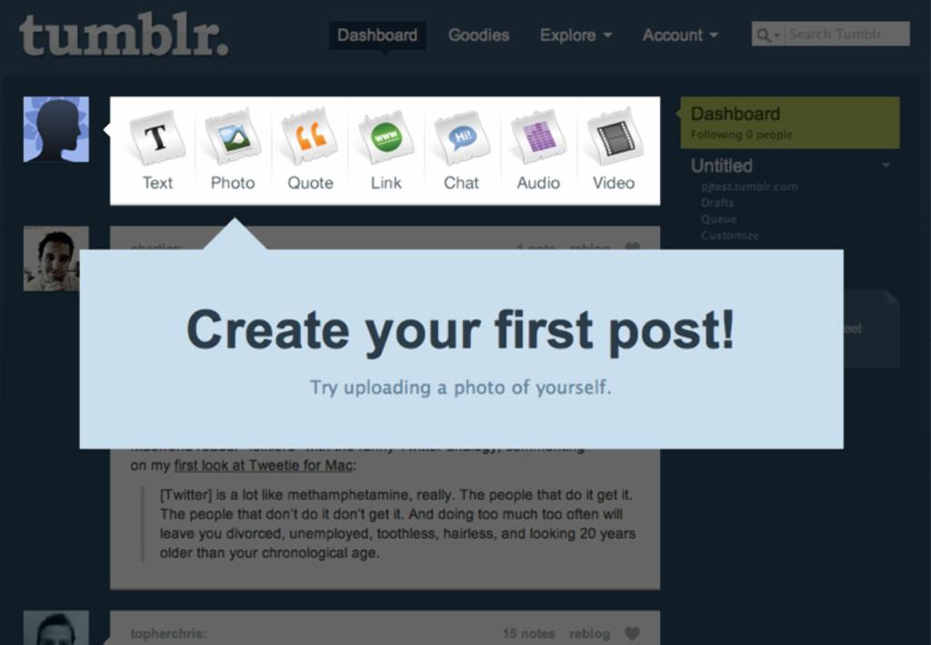 Slik ser Tumblr ut rett etter at du har opprettet din egen tumleplass.