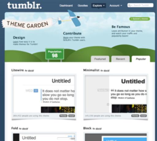 """I Tumblrs egen """"Theme Garden"""" kan du titte på ulike bloggdesign og bytte ut ditt eget med et par klikk."""