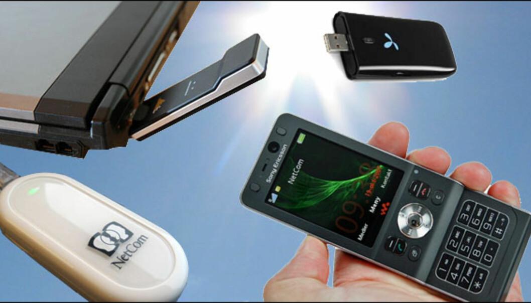 <strong>Aktuelt utstyr for å koble deg til mobilt bredbånd:</strong> Bærbar PC sammen med USB-modem eller mobiltelefenonen. Fremover vil også flere bærbare komme med innebygget 3G-modem.