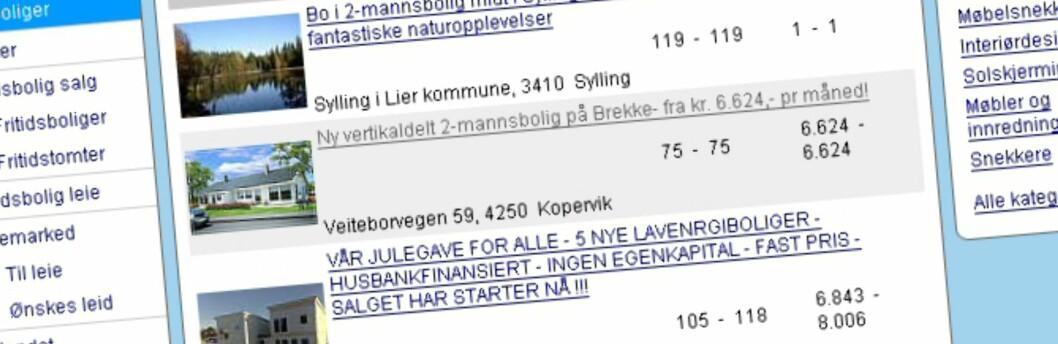 Annonser som denne, der kun månedlige utgifter oppgis, skal snart være en saga blott.  Foto: Finn.no