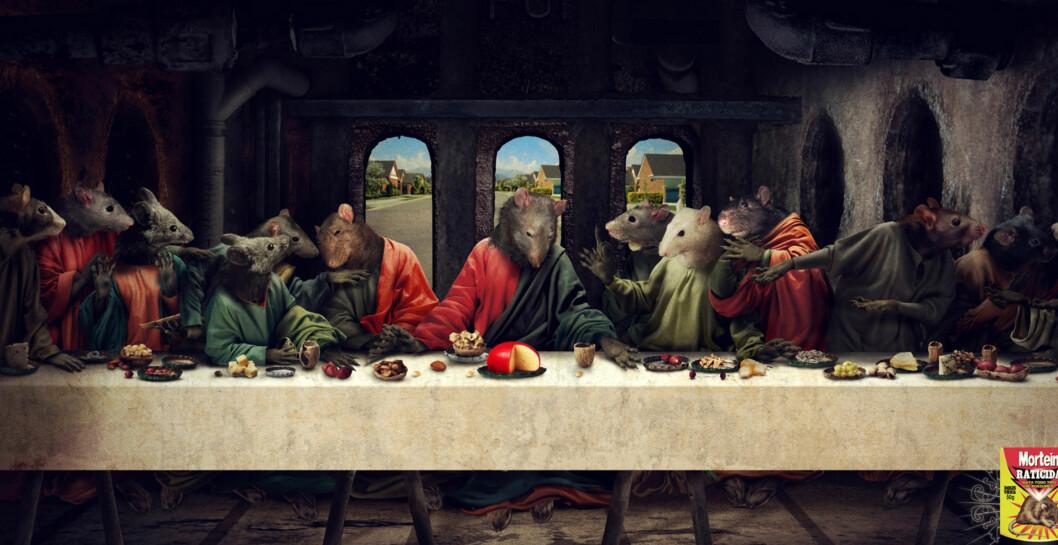 Oslo Citys julekampanje blir dydheten selv i forhold til denne her. Det siste måltidet, med rotter i stedet for de bibelske personene, vil nom støte mange. Bildet er en reklame for rottegiften Mortein.