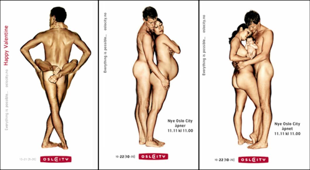 En av nyere tids mest omdiskuterte norske reklamekampanjer. Blir du støtt av å se disse to nakne personene? På tiden da kampanjen ble lansert, var det mange som klaget på nettopp disse annonsene. Foto: Oslo City