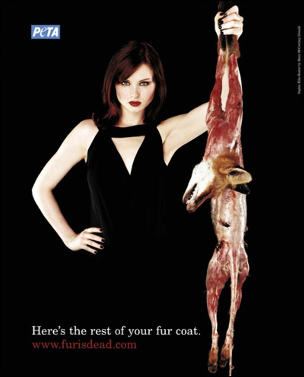 Popstjerne Sophie Ellis-Bextor var bare en av kjendisene som stilte opp i denne kampanjen til organisasjonen PETA (People for Ethical Treatment of Animals). Foto: Peta