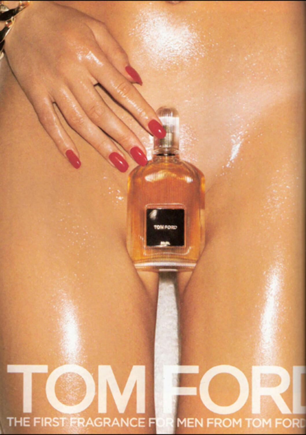 Tom Ford har lansert en parfyme for menn, og det er ikke tvil om at markedsføringen kommer til å bli omdiskutert. Kampanjen består blant annet av en naken kvinne med parfymeflasken mellom beina.