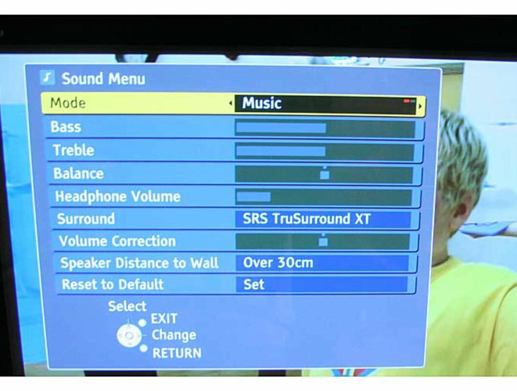 Lyd-menyen - Denne TVen har faktisk god lyd.