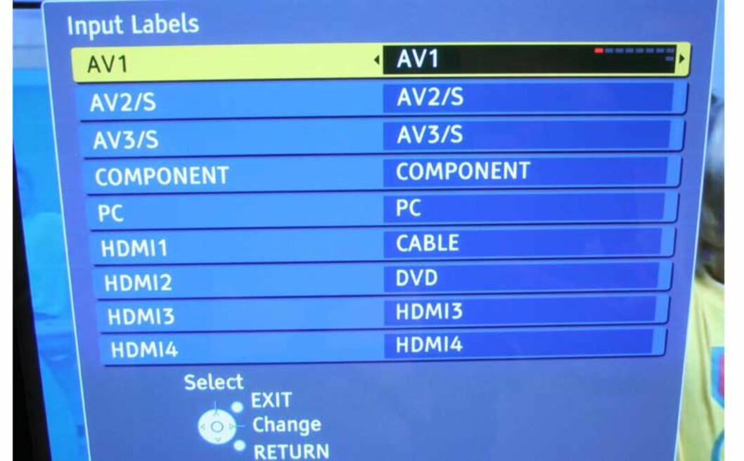 Oversikt over inngangskildene. Merk deg at HDMI-inngang nr 4 er ifronten.