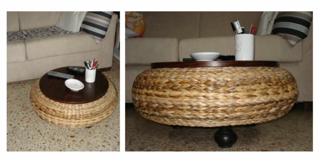 Her har den fått nytt liv som sidebord, med tre små bein, og en plate på toppen. Foto: Ikeahacker.blogspot.com