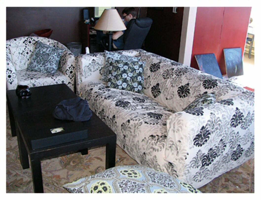 Her har Klippan-sofaen og Tullsta-stolene fått sjablongtrykk - og et helt unikt uttrykk. Foto: Ikeahacker.blogspot.com