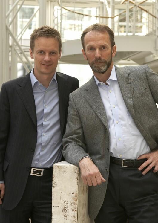 Makroøkonom Bjørn Roger Wilhelmsen (t.v) og sjeføkonom Harald Magnus Andreassen i First Securities.