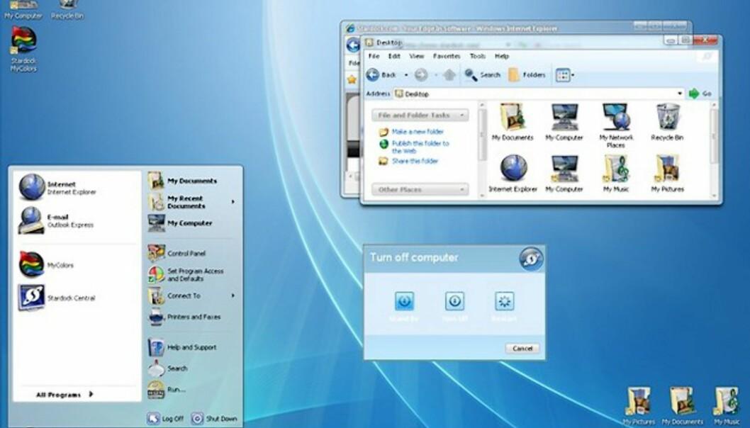 Slik blir altså Windows XP seende ut med Diamond-temaet, som du kan laste ned gratis.
