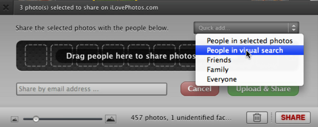 iLovePhotos lar deg dele bilder på flere måter.
