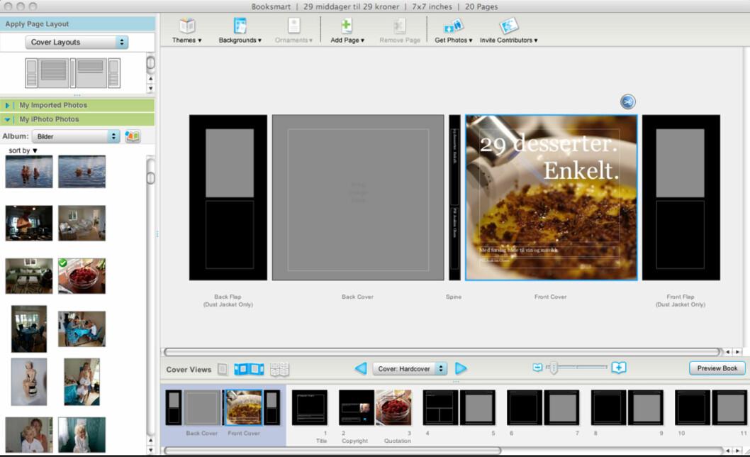 Slik ser Blurb-programvaren ut. Dette er Mac-versjonen.