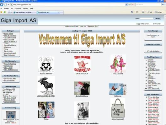 Faksimile fra Giga Import 2. september. Vesken (nederst til høyre) er fortsatt avertert på forsiden, med urettmessig merkebruk, selv om det står at den er utsolgt når man klikker på varen. Foto: Giga Import-