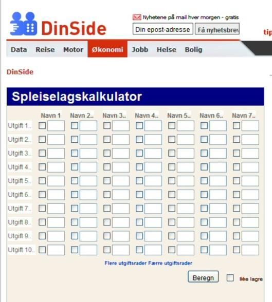 Slik ser vår nye kalkulator ut. Foto: DinSide