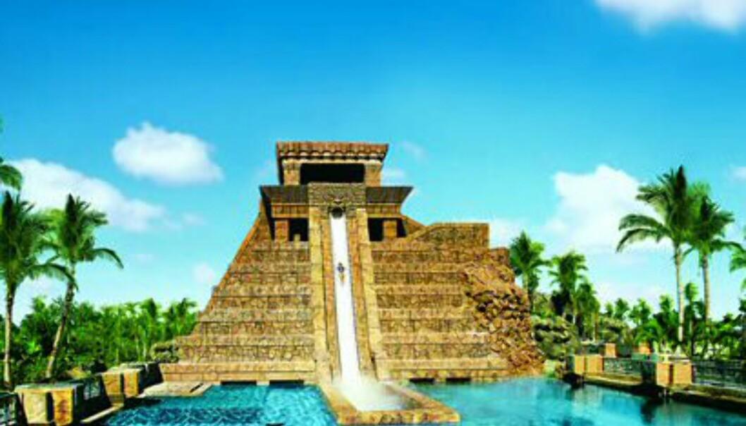 Aquaventure er hotellets egen vannpark. Her er blikkfanget, den 27,5 meter høye vannsklien. Legg merke til haiene som svømmer i bassenget!<br /> <br />  Foto: Atlantis The Palm