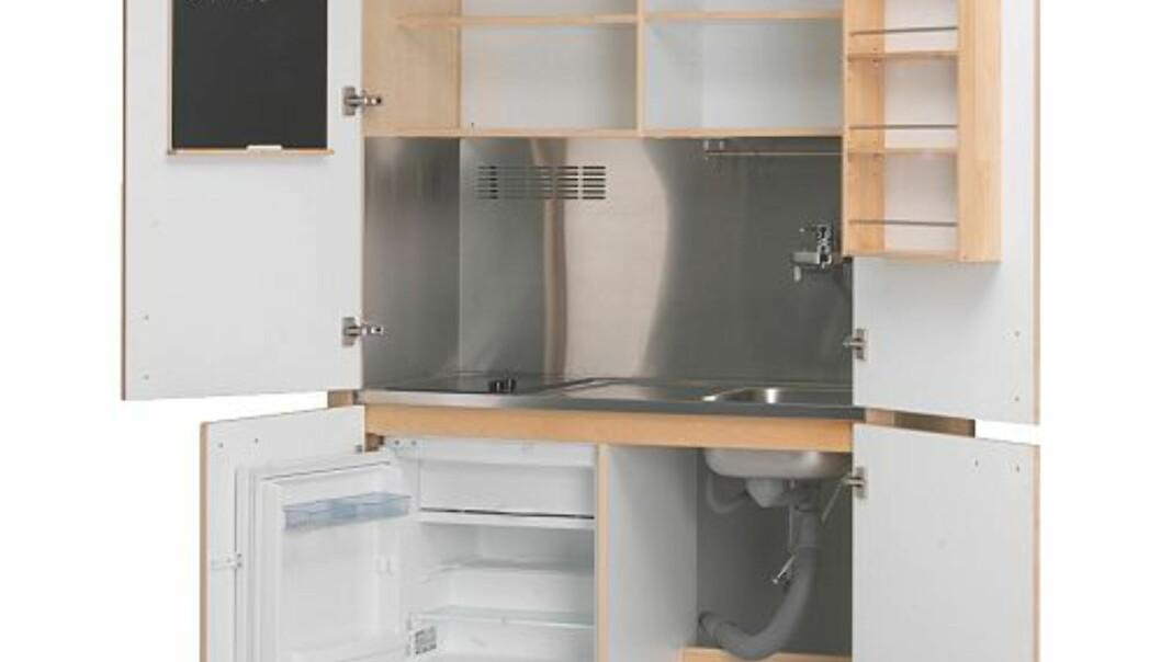 Ikeas alt i ett-kjøkken passer fint inn på en ettroms eid av en med stramt budsjett. Kjøleskap, komfyr og skap i et og samme komponent. Pris: cirka 11.000 kroner.
