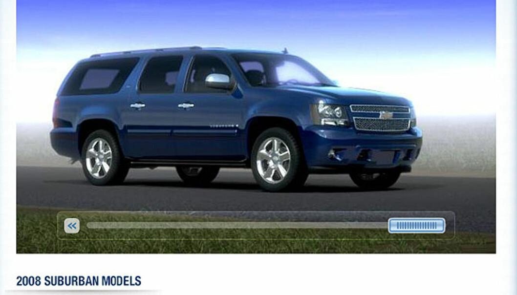 <strong>Chevrolet suburban:</strong> Trygg, romslig og luksuriøs familietransport - om enn ikke svært miljøvennlig. 207.000 kroner i USA - 1,5 mill. i Norge...