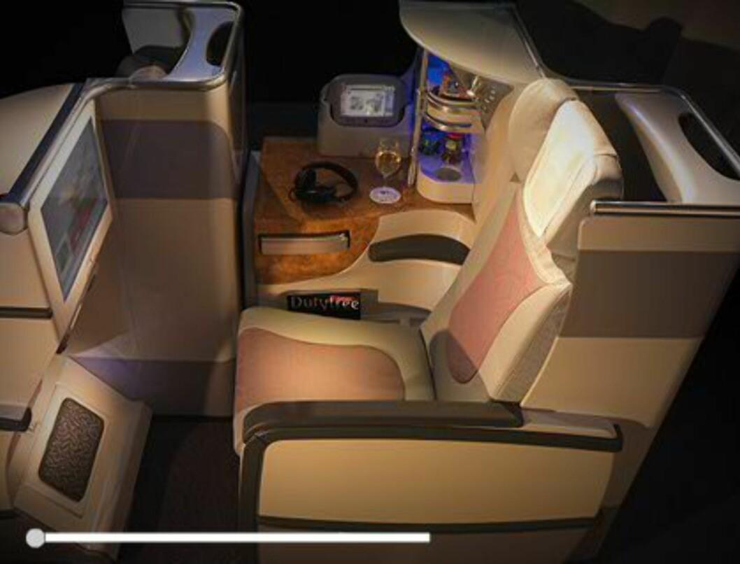 På businessklasse er det lie flat seats... Foto: Emirates