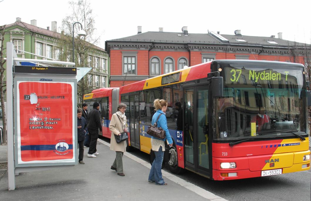 <strong>POPULÆR REISEFORM:</strong> Hver nordmann brukte buss på 85 reiser i snitt i 2010. Foto: Ruter As