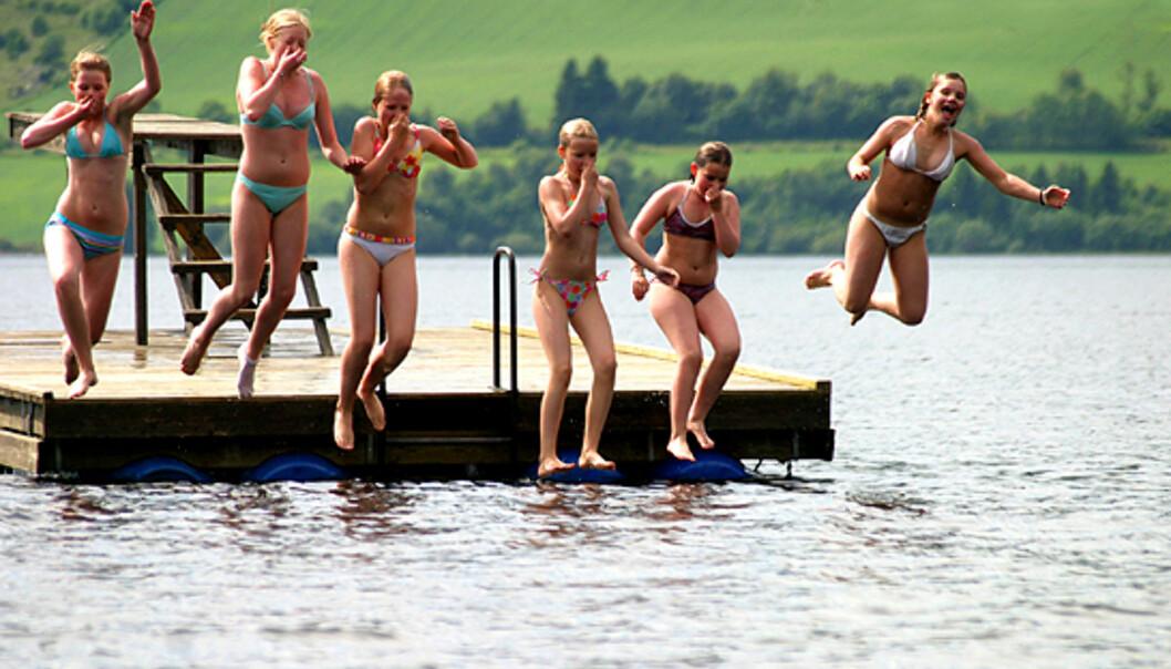 Badejenter i farta... Foto: Liv Ø. Kornerud