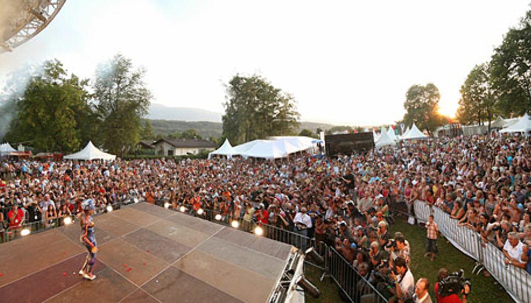 Over 25 000 mennesker samler seg i byen med beskjedne 7000 innbyggere neste uke.  Foto: World Bodypainting Festival