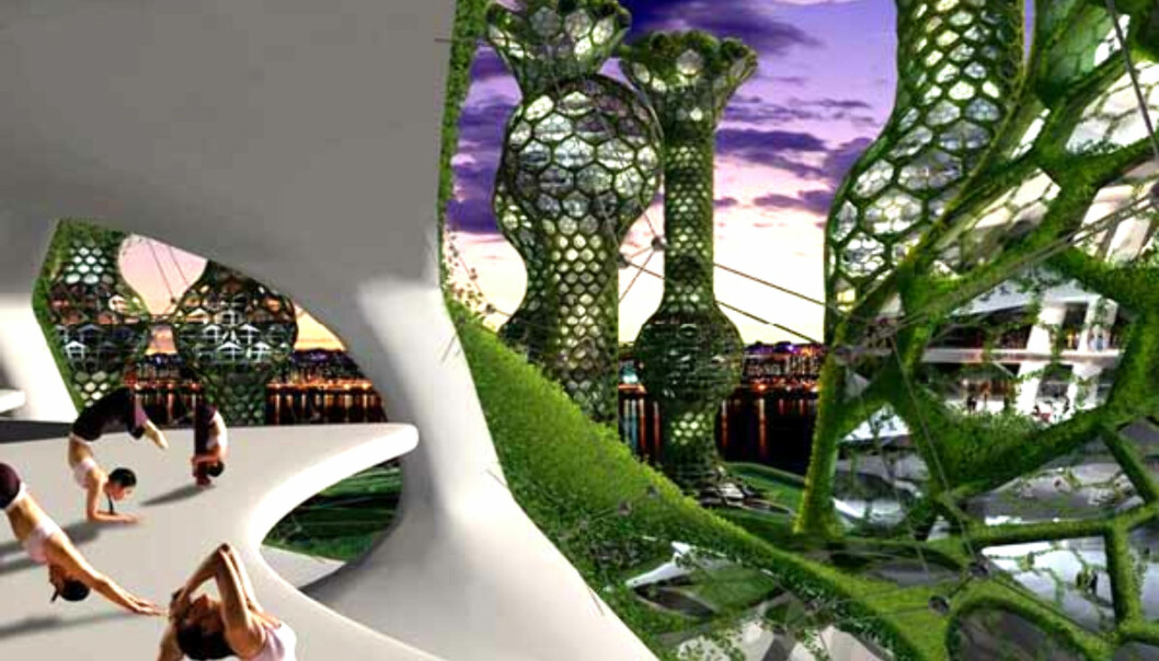 I framtidsvisjonen Seoul Commune 2026 er leilighetene gjort om til små private celler. Sosiale aktiviteter må du gjøre utenfor cellene. Bare pass deg så du ikke faller ned... <i>Illustrasjon: Mass Studies</i>
