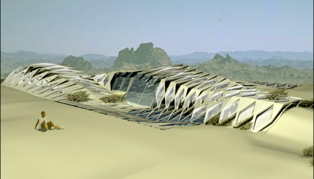 Denne bygningen er inspirert av Nevadaørkenen og dens kaktuser og krypdyr. Bygningen glir lett inn i omgivelsene, slik at skillet mellom natur og konstruksjon blir minimal. Siden denne bygningen er ment for varme strøk, vil et solkraftanlegg ta nytte av det rikelige ørkensollyset. <i>Illustrasjon: su 11 architecture + design</i>