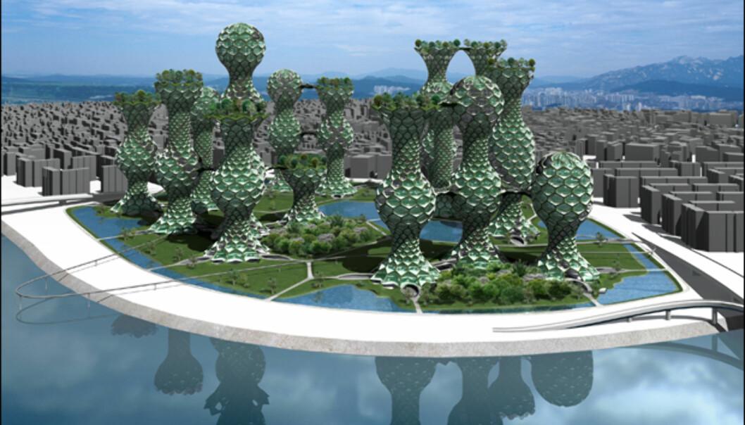 Er dette en god måte å kombinere park og høyhus? Hva enn du måtte mene om Seoul Commune 2026, er det vel ingen tvil om at en slik boligpark vil skape oppmerksomhet. <i>Illustrasjon: Mass Studies</i>