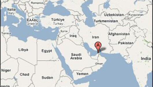 Her ligger Dubai, ved inngangen til Persiabukta. Foto: Google Maps