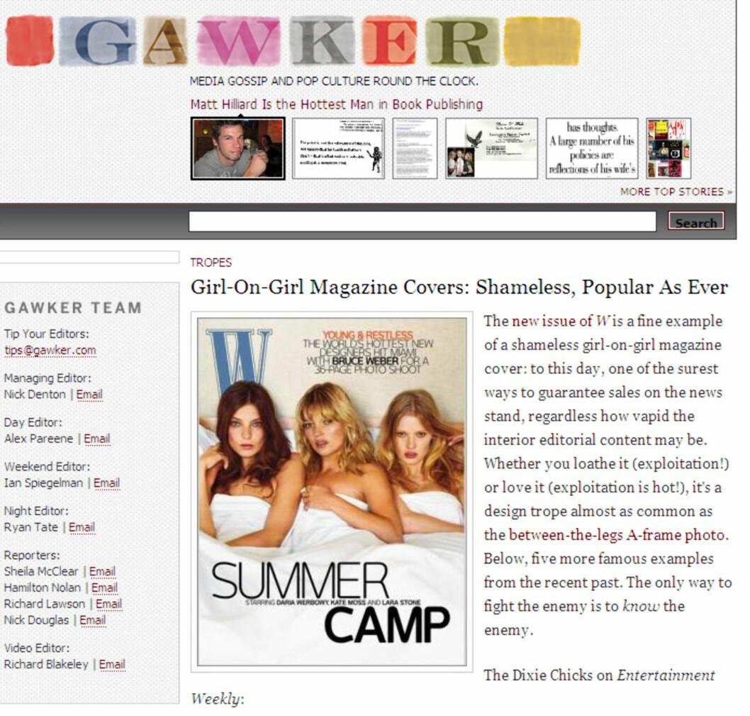 <i>Slik er det nye coveret til magasinet W. Faksimile fra gawker.com</i>