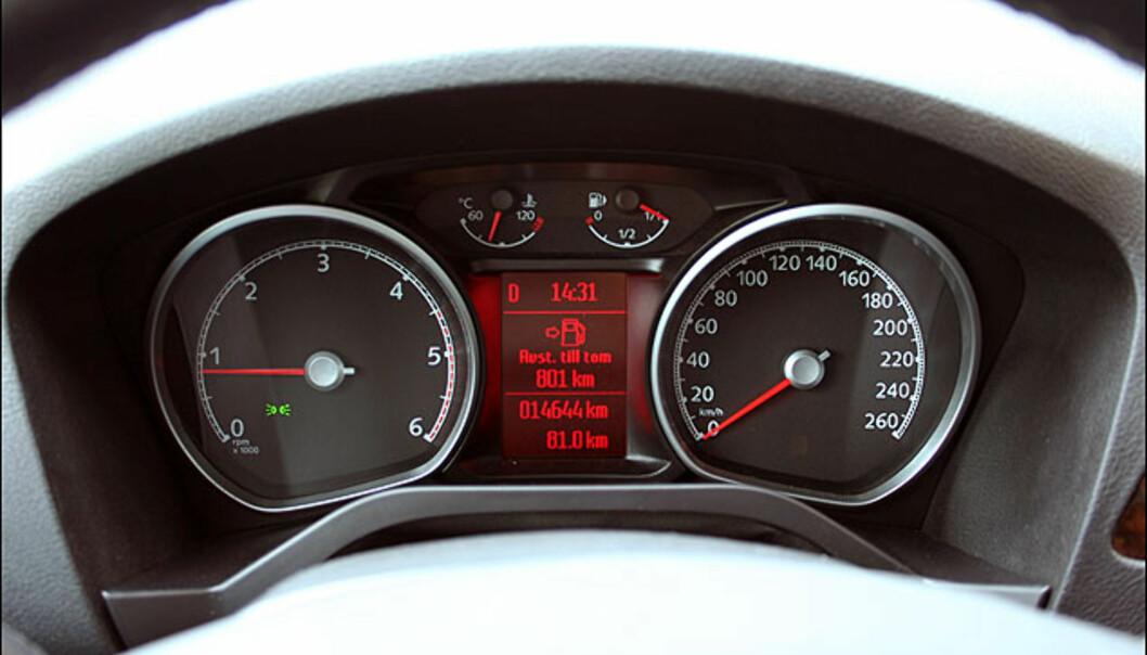 Kjøreinformasjon mellom instrumentene