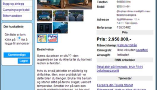Her er annonsen som i skrivende stund ligger ute på nettet. <i>Faksimile: Finn.no</i>