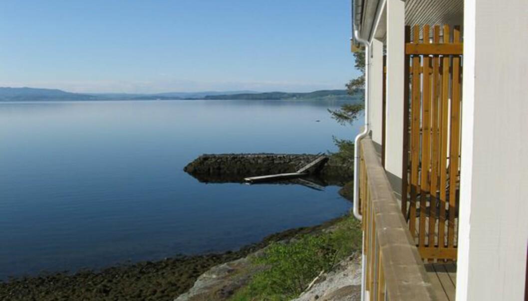Utsikt fra hotellrommet mitt på Jægtvolden Fjordhotell.