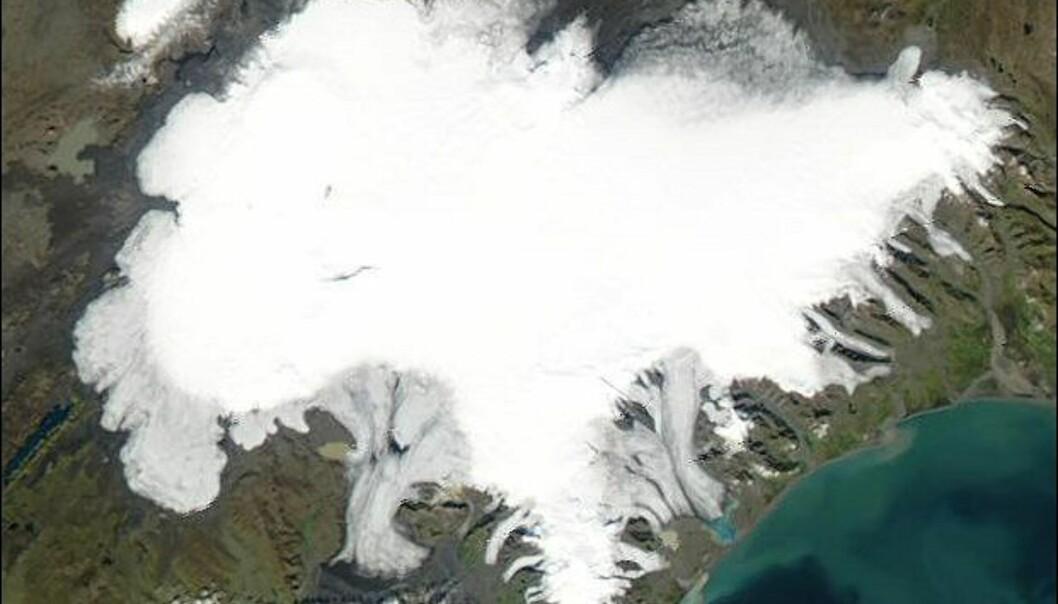 Satelittfoto av Vatnajökul. Foto: NASA