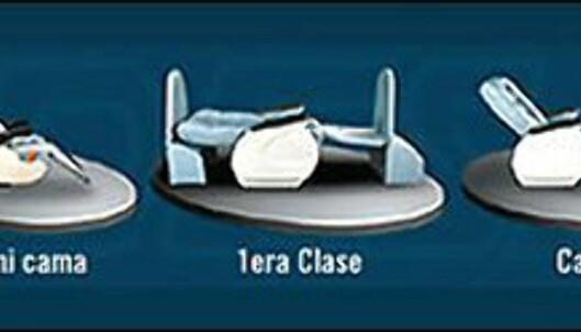 Her ser du eksempler på de tre seteklassene på Andesmars busser. Foto: Andesmar