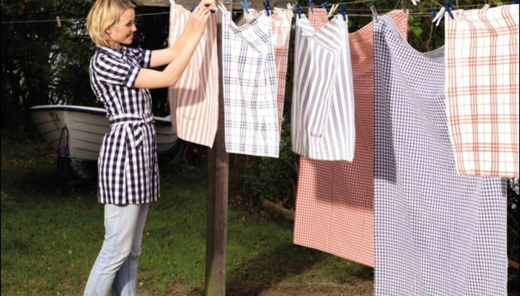 Håndklær og tekstiler fra Bohus i svakt falmet rødt og blått og hvitt. <i>Foto: Bohus</i> Foto: Bohus