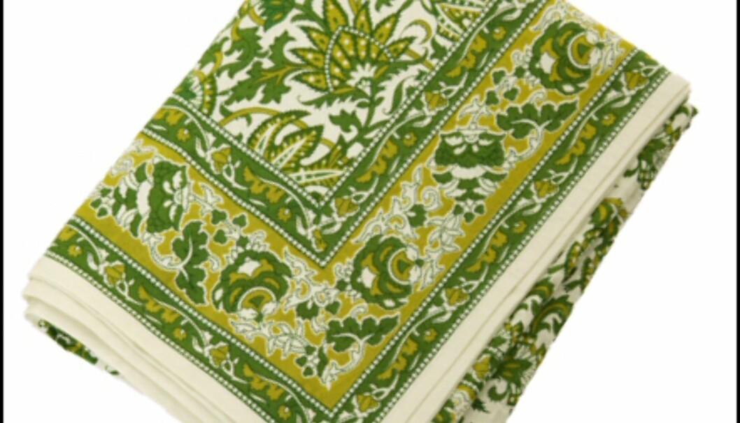 <strong>Mønstret grønn duk fra Indiska:</strong> 229 kroner. <i>Foto: Indiska</i> Foto: Indiska