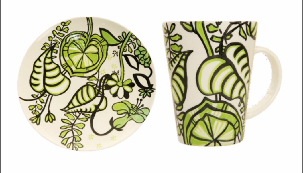 <strong>Mønstrete servise i grønt fra Indiska:</strong> 40 kroner for tallerken, 50 kroner for kopp. <i>Foto: Indiska</i> Foto: Indiska
