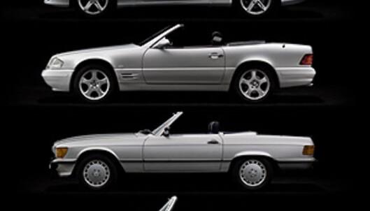 """Fem generasjoner Mercedes-Benz SL (Første generasjon, """"måkevingen"""", var ikke en roadster og er ikke med på bildet)."""