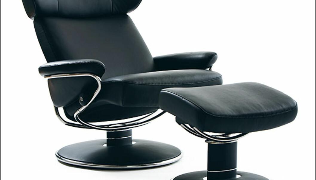 Elsket og hatet. Stressless får Merket for god design 2008 med sin Jazz Medium, som beskrives som en raffinert utgave av hvilestolen alle kjenner. Originalen ble første gang produsert i 1971. Designet av Ekornes Designteam for Ekornes ASA. Foto: Øystein Klakegg