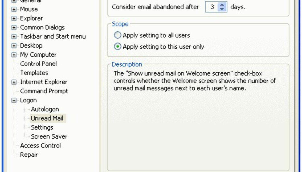 Uleste e-postmeldinger på velkomstskjermen