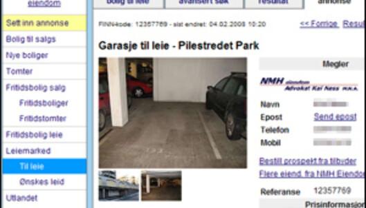 Garasjeplass sentralt i Oslo til leie for 1.400 kroner i måneden. <i>Faksimile: Finn.no</i>