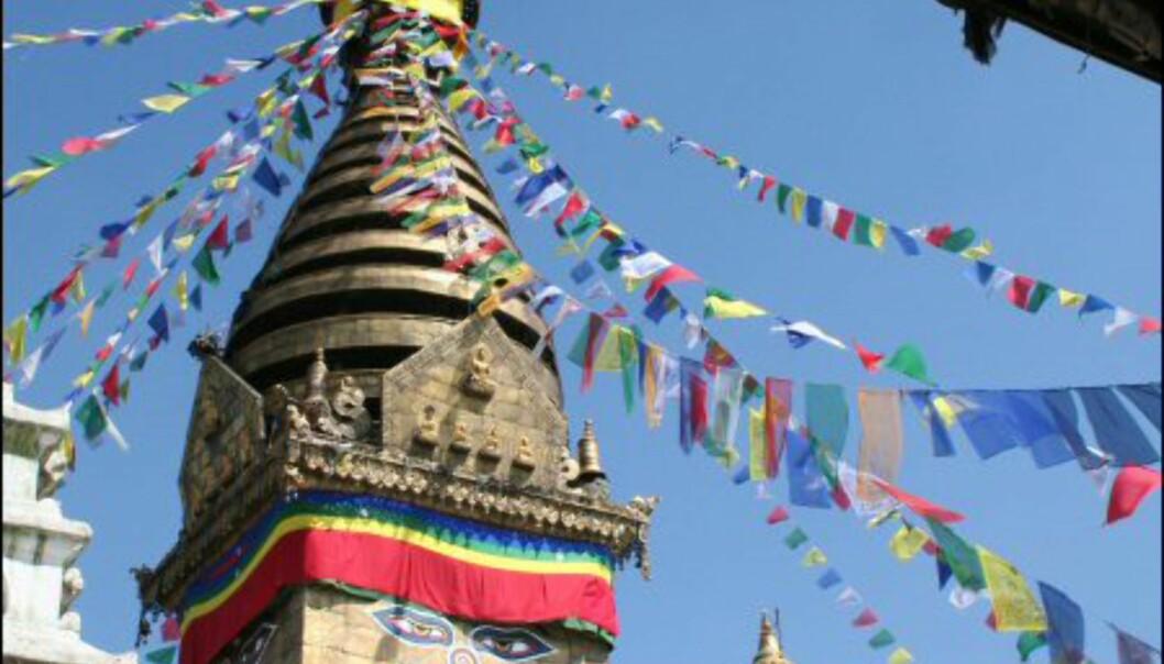 Buddhismen er en stor del av hverdagen for nepaleserne. Her en stupa i hovedstaden Katmandu.  Foto: Vidar Brotnov