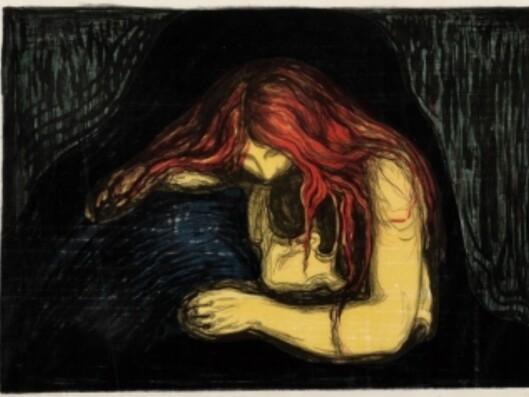 I november i fjor ble fargelitografiet Vampyr II solgt for 11,8 millioner på Munch-Auksjonen i Oslo. Dette er internasjonal auksjonsrekord for et grafisk verk. (Bildet er et utsnitt.)