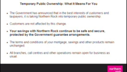 """<strong>Denne meldingen møter bankens kunder når de logger seg inn på bankens <a target=""""_blank"""" href=""""http:</strong>//www.northernrock.co.uk"""">nettsider</a>. <i>Faksimile fra Northern Rock</i>"""