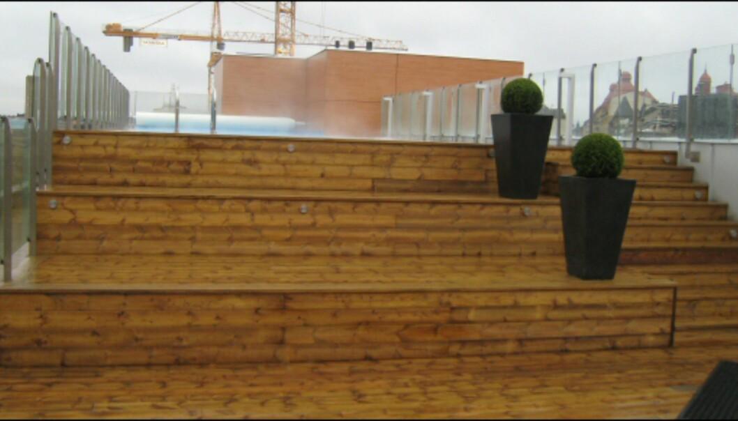 På den andre takterrassen er et lite basseng som holder 35 grader året rundt. <I>Foto: Elisabeth Dalseg</i>