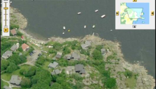 Skråblikk på Norge, tatt fra kysten. Kan du se boligen din? <I>Faksimile fra gulesider.no</i>