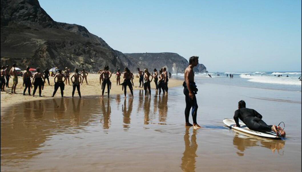 <strong>Phillip:</strong> tilbyr privat surfeundervisning for 65 euro for halvannen time på Praia da Castelejo en knapp time nord for Sagres. Foto: Vibeke Montero